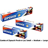 Zipouch Combo Of Fresh-N-Loc Slider Bags (Small + Medium + Large) (Pack Of 10+10+10) Microwave & Freezer Safe, Retains Freshness Longer