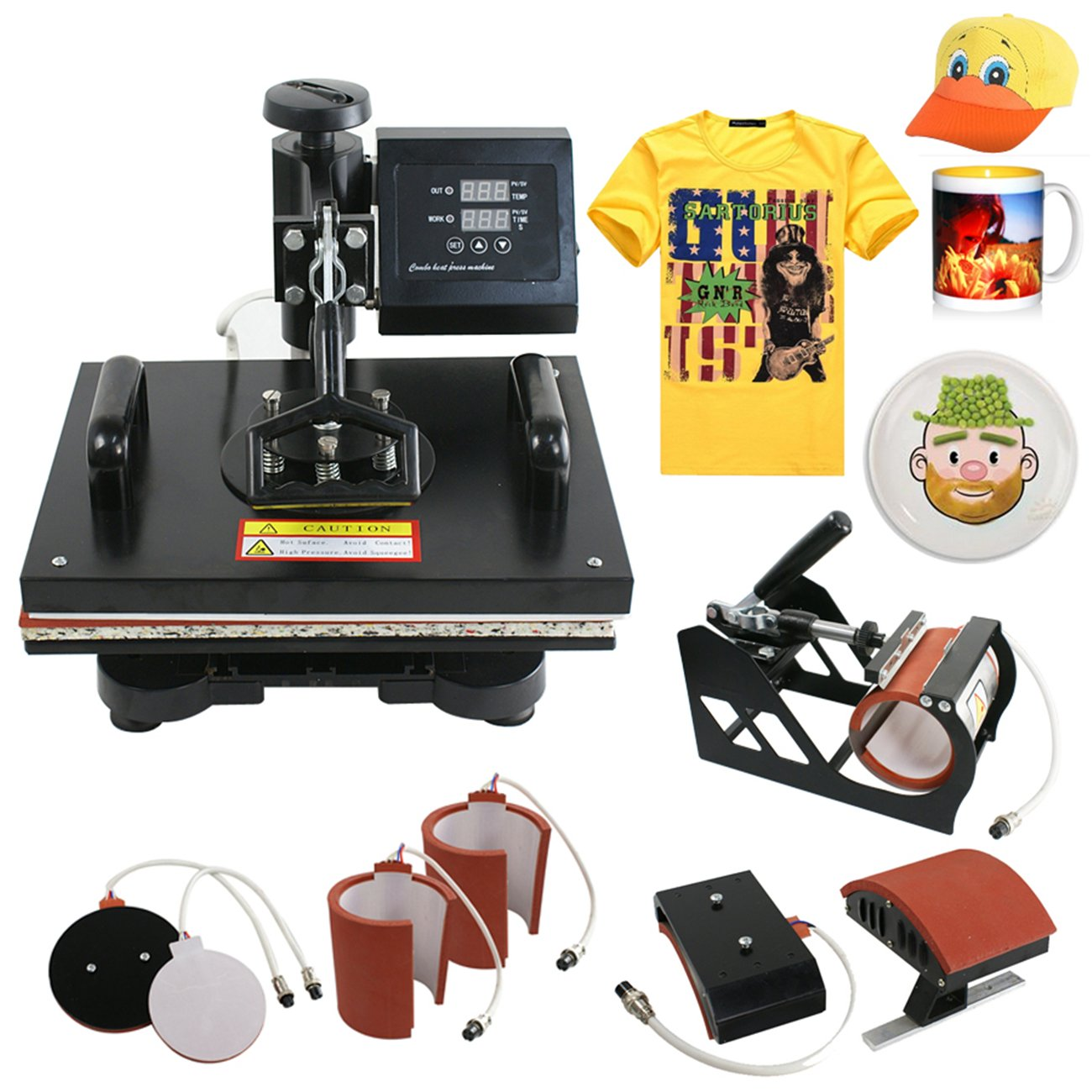 Segawe 6in1 Digital Transfer Heat Press Machine Sublimation T-shirt Mug Hat Plate Cap by Segawe
