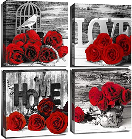 Amazon Com Rose Pictures Wall Decor Black And White Bathroom Canvas Prints Red Flower Paintings Art Couples Retro Floral Bedroom Home Decoration 12x12 Modern Framed Artwork Accessories For Girls Gift 4 Pcs Set