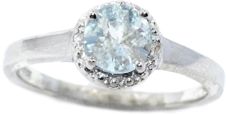 Elizabeth Jewelry 14Kt White Gold Genuine Aquamarine & Diamond Round Ring