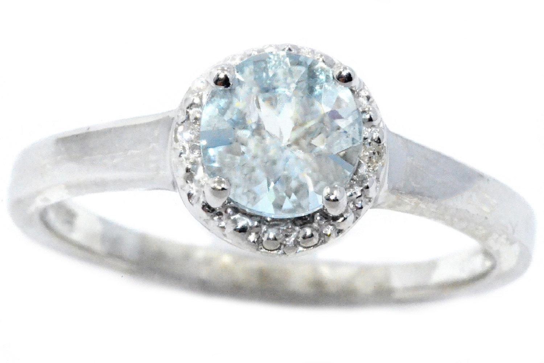 14Kt White Gold Genuine Aquamarine & Diamond Round Ring