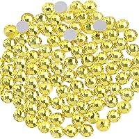 Beadsland 1440 Piece Flat Back Crystal Rhinestones Round Gems,1.3mm-6.5mm,Lemon Yellow(SS3(1.3-1.4mm))