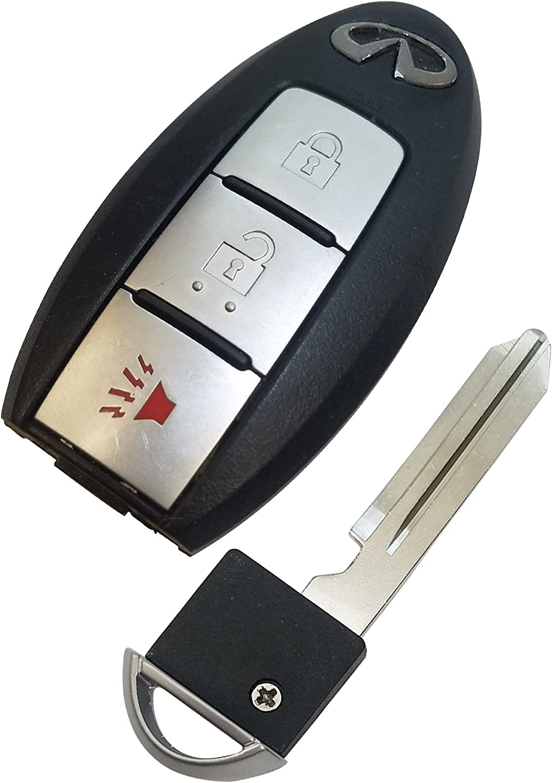 OEM 3 Button 2009-2013 Infiniti FX /& 2008-2013 Infiniti EX Keyless Entry Factory Remote Uncut Key Insert KR55WK49622 REMOTE STORE Bundle