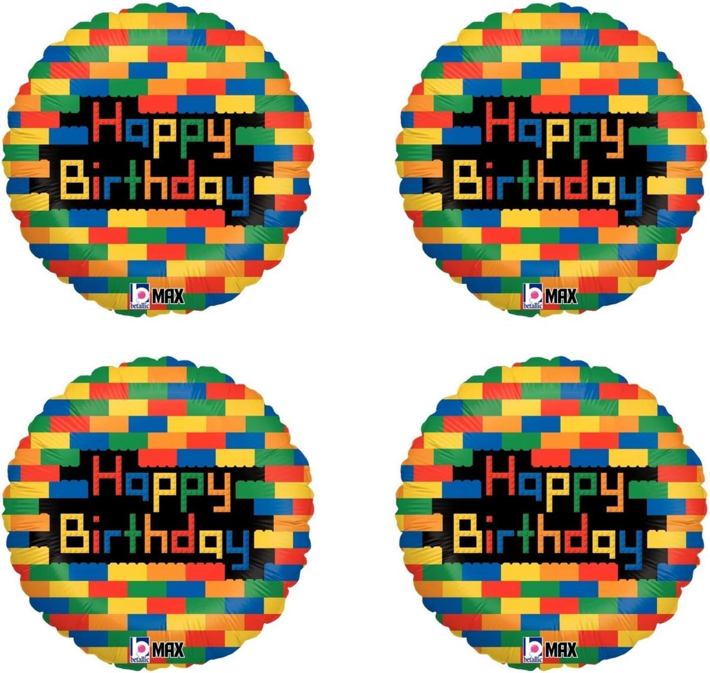 4 Pack Set Of Lego Themed Balloons For A Lego Superhero Happy Birthday Party Decor Lego Movie Party Balloon Bundle