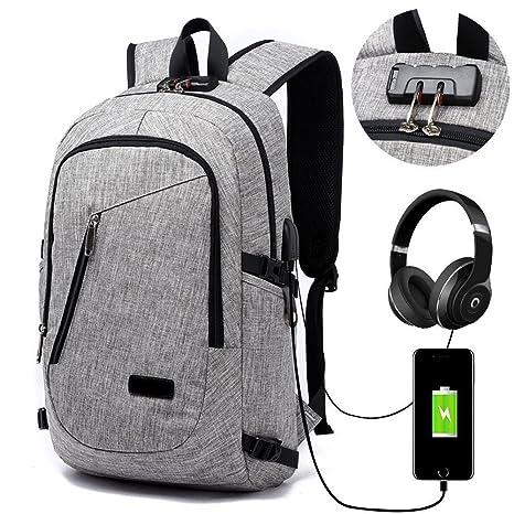 Pureed Mochila para portátil unisex con mochila USB puerto de carga anti- robo de la