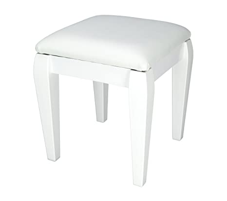 Peachy White Small Dressing Table Foot Stool With Classic Style Legs And White Faux Leather Cushion Spiritservingveterans Wood Chair Design Ideas Spiritservingveteransorg