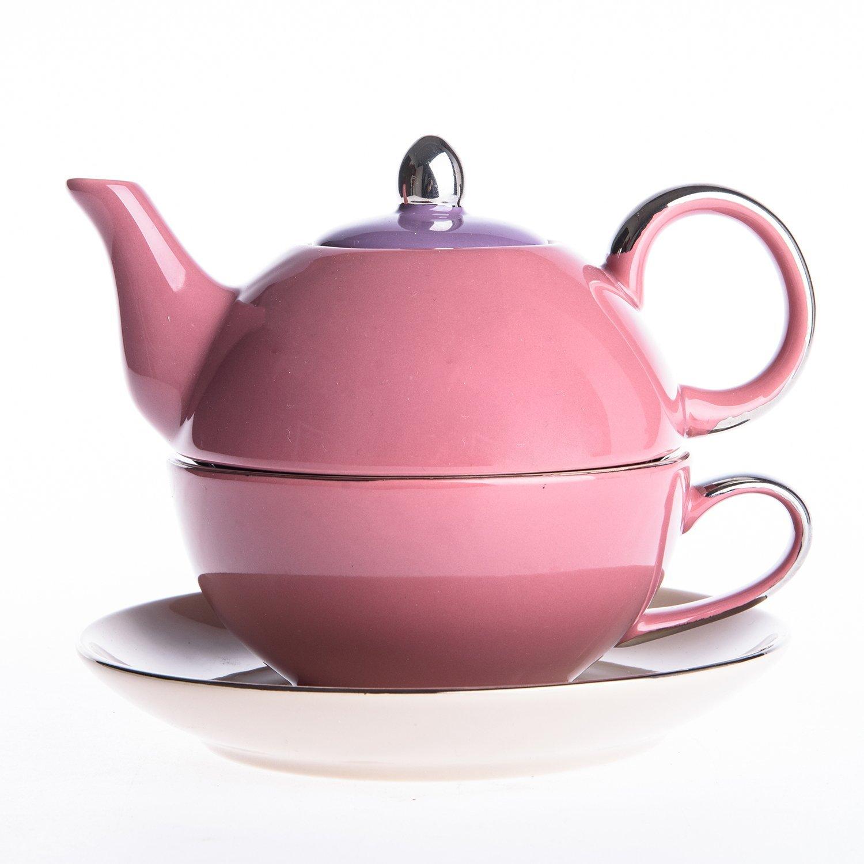Artvigor Porcelain Tea Set for One, Mixed Colors Glazed Teapot Teacup and Saucer (Pink)