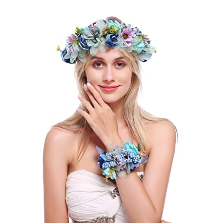 Amazon.com   June Bloomy Flower Crown Hair Wreath Maternity Photo Shoot  Garland Halo with Wrist Band (R-Blue)   Beauty 8df8142b70b