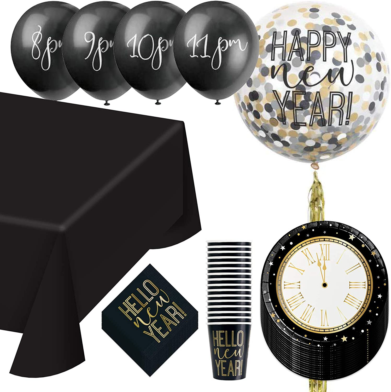 New Years Eve Countdown Dinner Party Pack - Paper Dinner Plates, Beverage Napkins, Cups, Table Cover, and Countdown Balloon Kit (Serves 16)
