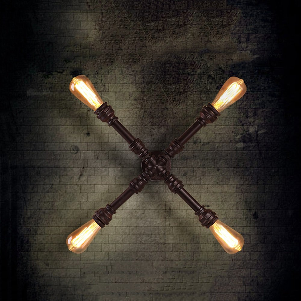 31-40w iron material, wall lamp. Retro industrial style E26 light bulb 4 Cross shape Bar Bedroom Restaurant Coffee shop balcony (rust colored)