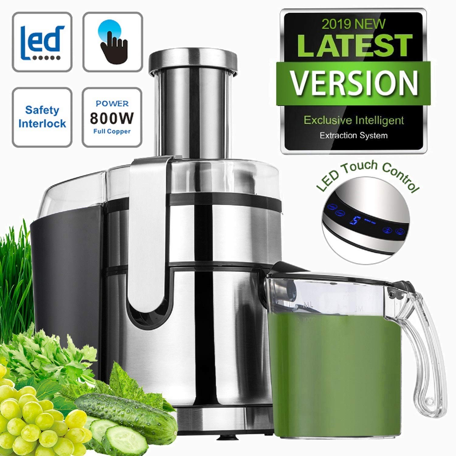 Extractor,Wide Mouth Masticating Juicer Machine LED Touch Control Function with Juice Jug,Anti-drip,800W-High Nutrient Fruit & Vegetable 15.7 x 10.6 x 7.8 (LED Touch Control)