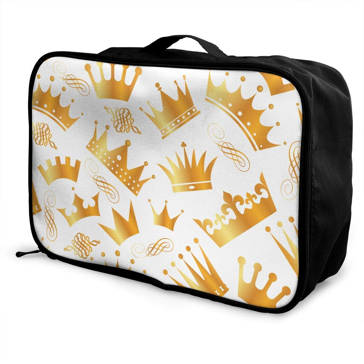 JTRVW Luggage Bags for Travel Travel Duffel Bag Waterproof Fashion Lightweight Large Capacity Portable Duffel Bag for Men /& Women Gold Crown