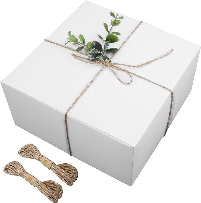 Cajas Cartón kraft Blanco (Pack de 12) - (20,3 x 20,3 x 10,1cm) Cajas Regalo Carton Auto Ensamblado Caja con Cuerda Cáñamo para Fiestas, Bodas, Damas de Honor, Dulces, Magdalenas y Manualidades: