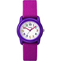 Timex Kids TW7B99400 Purple Resin Analog Watch with Pink Elastic Fabric Strap