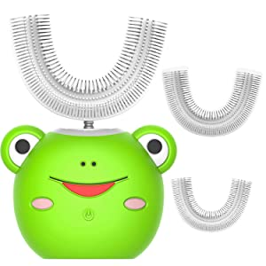U-Shape Automatic Toothbrush Auto Brush Electric Power Toothbrush Waterproof for 2-12 Years Child Toddlers Kids (Green)