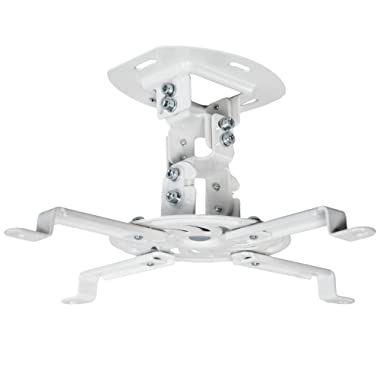 VIVO Universal Adjustable White Ceiling Projector/Projection Mount Extending Arms Mounting Bracket (MOUNT-VP01W)