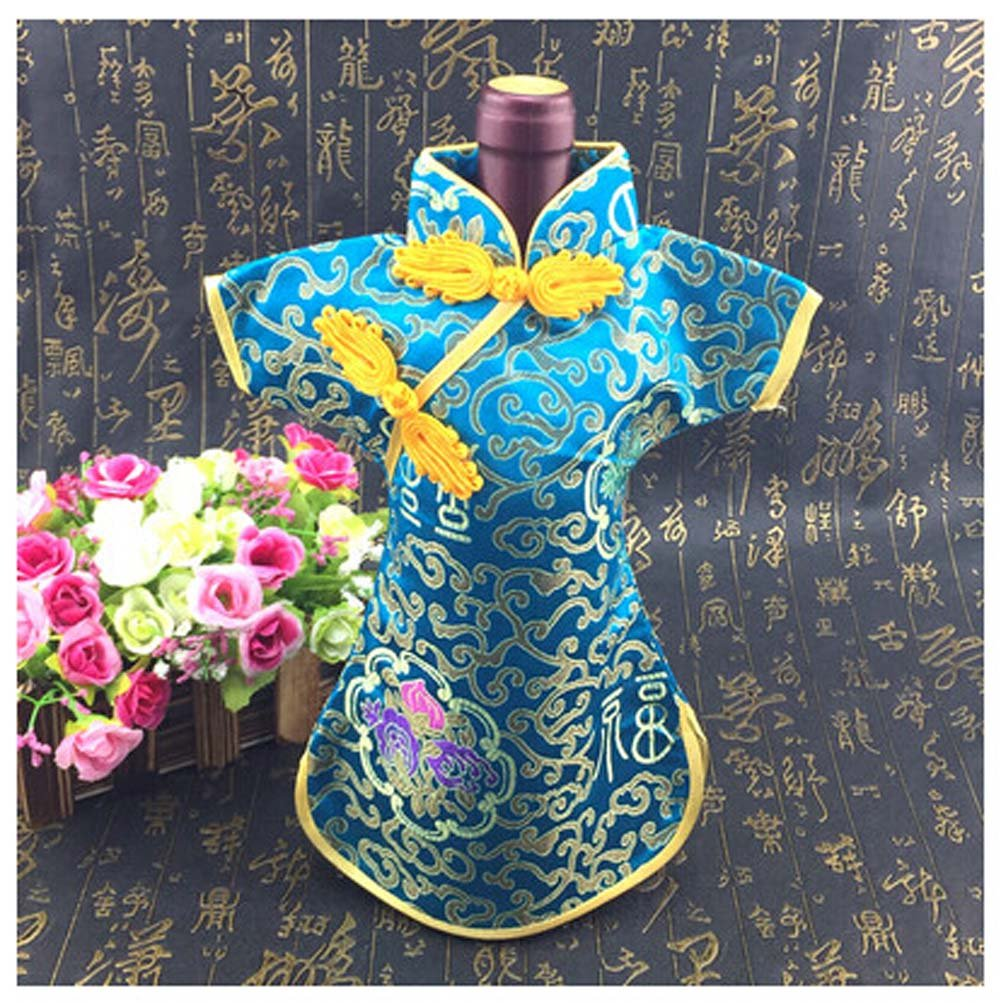 Chinese Brocade Dress Tunic Wine Bottle Cover in Light Blue (Set of Three)