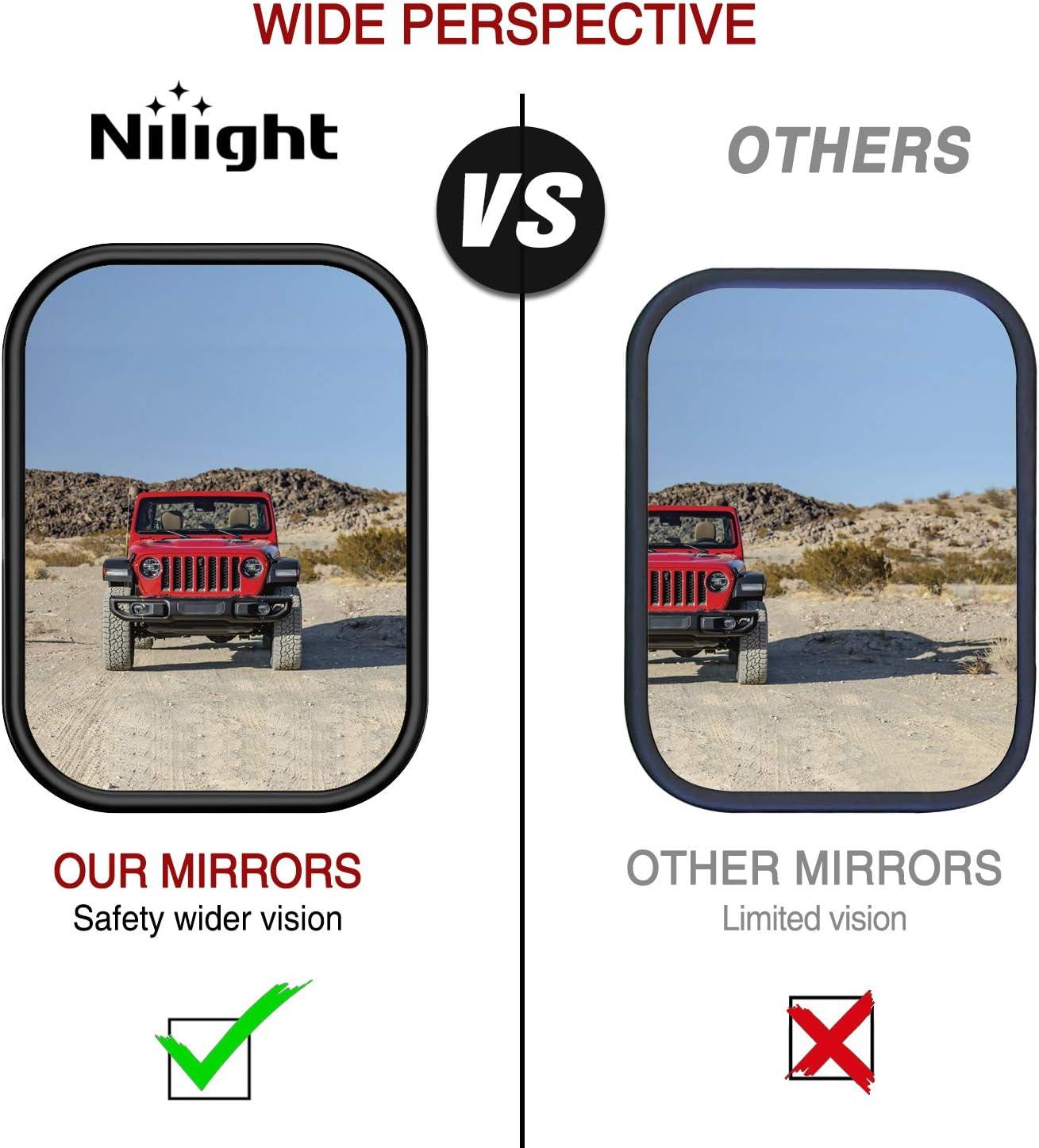 Pack of 2 Nilight Rectangular Mirrors Doors Off for Wrangler CJ YJ TJ JK JL Easy Install Adventure Mirrors Rectangular Wrangler Rear View Mirror Textured Black