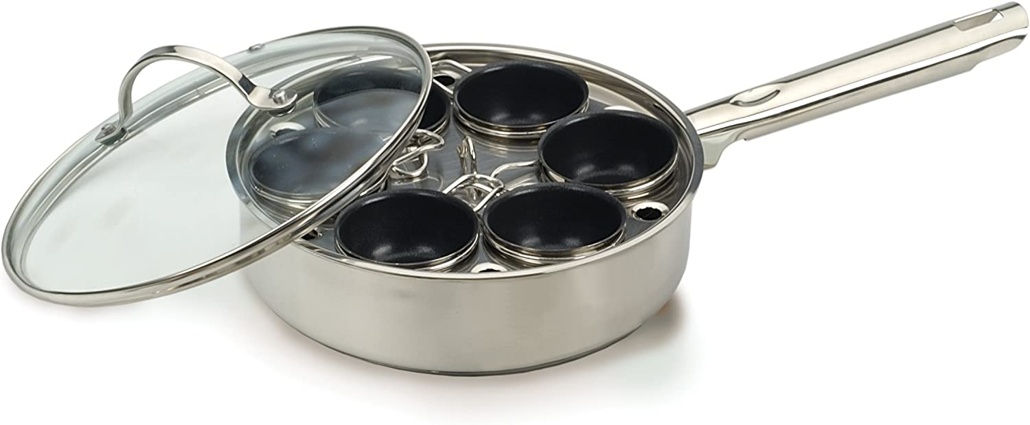 RSVP International Endurance (POACH-6IN) Egg Poacher Set for 6 Eggs   Glass Lid with Steam Vent   Perfectly Poached Eggs   Includes Non-Stick Poaching Insert   Dishwasher Safe