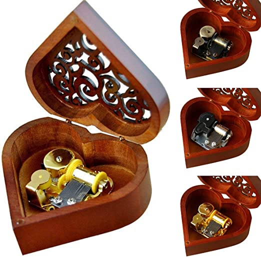 Jinxuny Caja Musical Caja Musical Caja de Madera Tallada Mecanismo ...