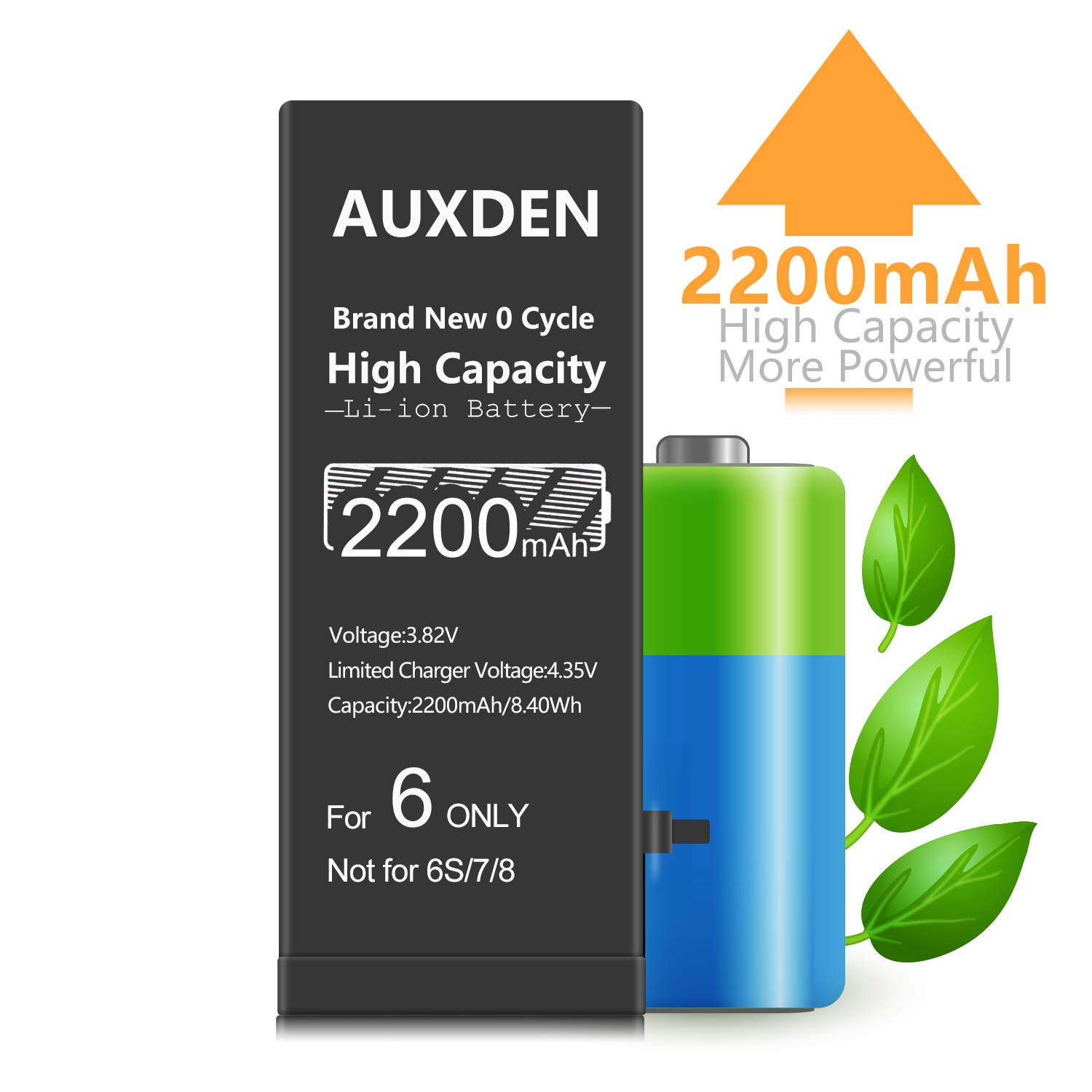 2200mAh High Capacity Battery for iPhone 6S 28/% More Capacity, Longer Lasting Auxden New 0 Cycle Li-ion Battery Replacement With Complete Repair Tool Kits and Screen Protector