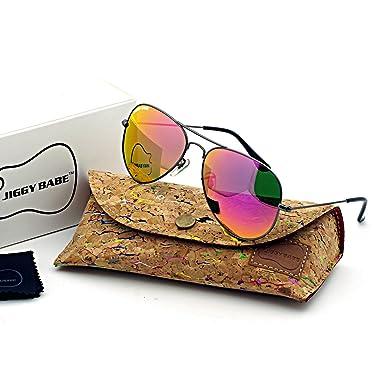 0f5c428ebd7 Top Brand Aviator Sunglasses Retro Vintage Classic UV400 Metal Flash Color  Mirror (Gun Babi Pink