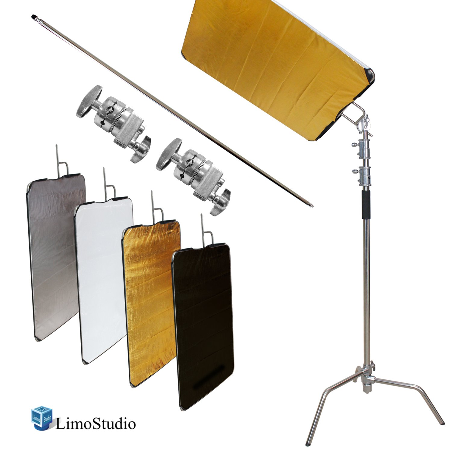 LimoStudio Photo & Video Studio Heavy Duty C-Stand Kit, 10 ft. Max Height, Turtle Base, 4 ft. Boom Arm Bar, 2PCS Multi Functional Chrome Grip Head Adpater, 4 Color Reflector, Cleaning Cloth, AGG2248