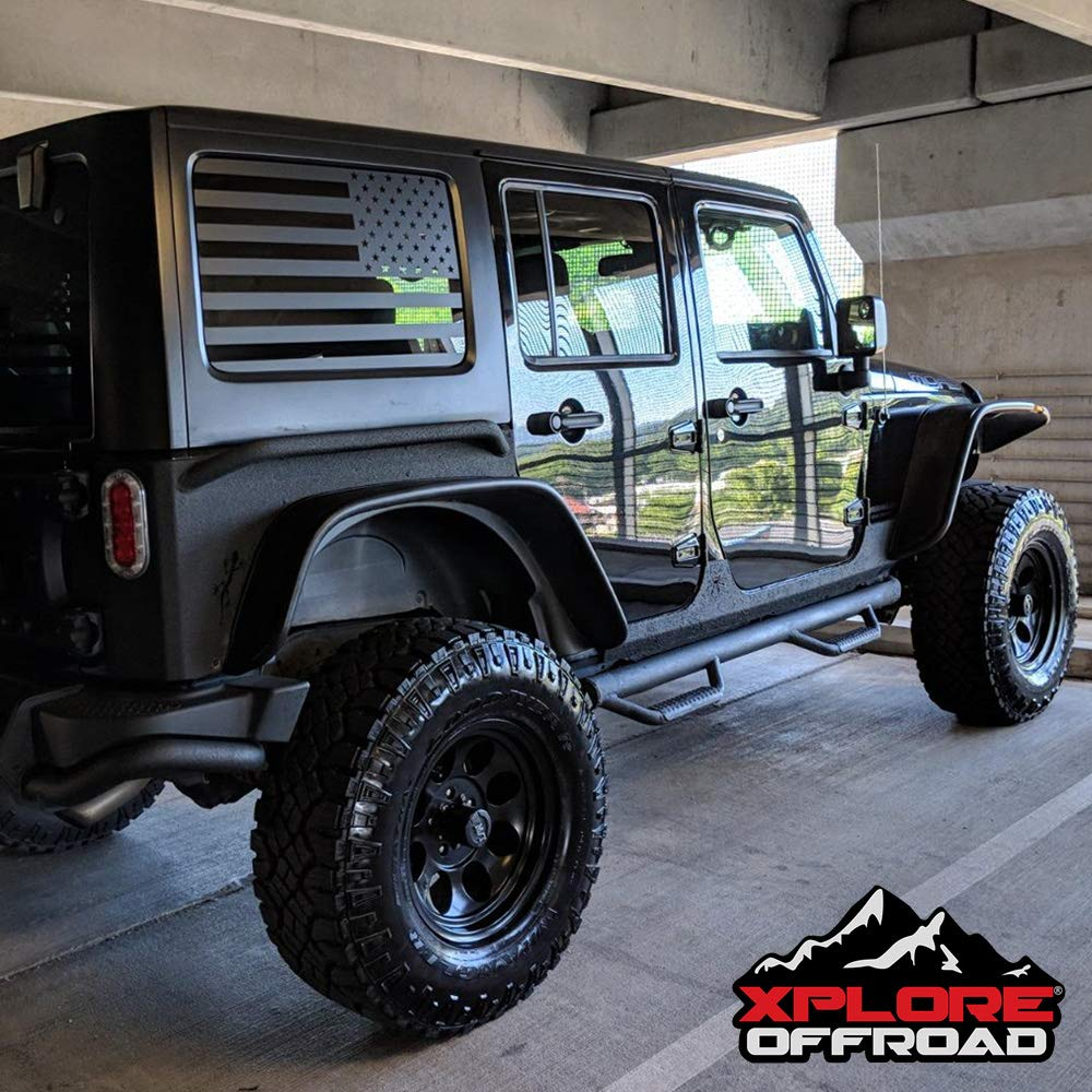 XPLORE Outdoors Jeep Wrangler | Precut USA Flag Window Decals | Matte Black American Vinyl for Rear Side Windows | Free Tool | Both Sides | JL 2018+ (4 Door)