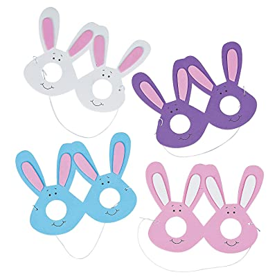 Fun Express - Foam Bunny Eyeglasses for Easter - Apparel Accessories - Eyewear - Novelty Glasses - Easter - 12 Pieces: Home & Kitchen