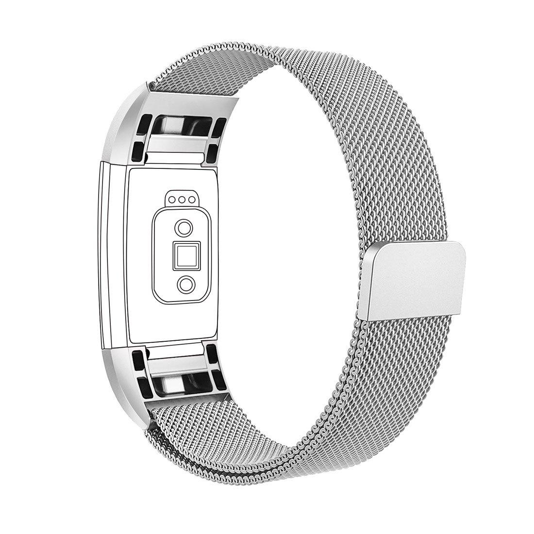 Rose Gold Large 6.7-8.1 GinCoband Milanese Loop Bands for Fitbit Charge 2,Stainless Steel Metal Bracelet with Magnet Lock Stainless Steel Metal Bracelet with Magnet Lock