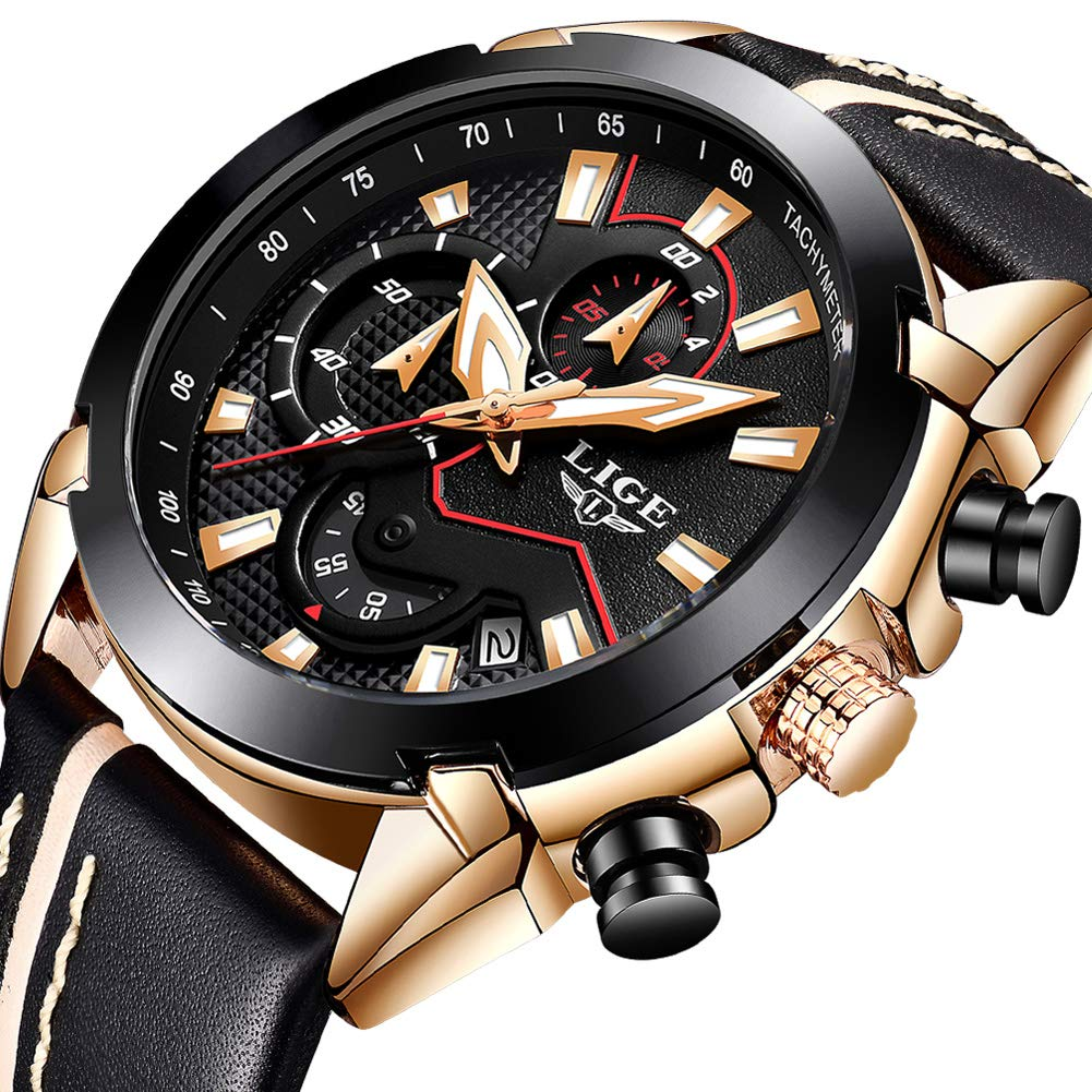 Watches for Men,LIGE Chronograph Waterproof Military Sports Analog Quartz Watch Gents Big Face Leather Strap Date Fashion Casual Dress Wrist Watch Rose Gold Black by LIGE