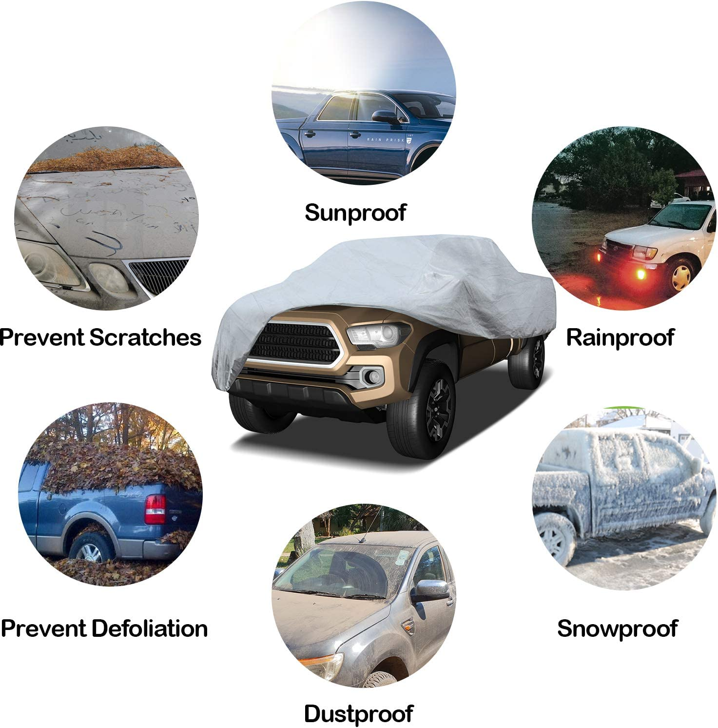 Arch Motoring 5 Layers Truck Cover Waterproof UV Protection Scratch Resistant Universal Fit Up to 249 All Weather Proof Heavy Duty Outdoor Pickup Truck Cover