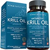 Krill Oil Supplement 1250mg - Antarctic Krill Oil Omega 3 Providing Astaxanthin, DHA and EPA, Joint Support and Brain Supplem