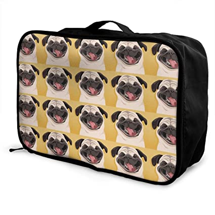 bdca2f37796d Image Unavailable. Image not available for. Color  YueLJB Pug Cute Pattern  Lightweight Large Capacity Portable Luggage Bag Travel Duffel ...