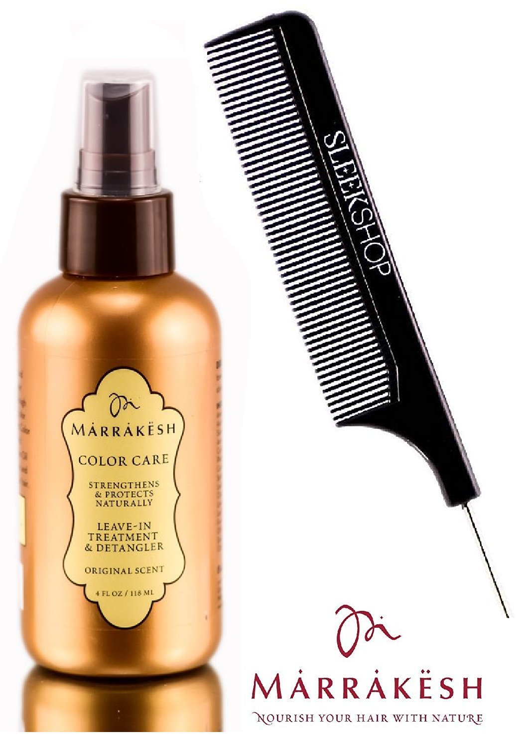 Marrakesh COLOR CARE Leave-In Treatment & Detangler, STRENGTHENS & PROTECTS NATURALLY, Original Scent (with Sleek Steel Pin Tail Comb) (Color Care - 4 oz / 118 ml)