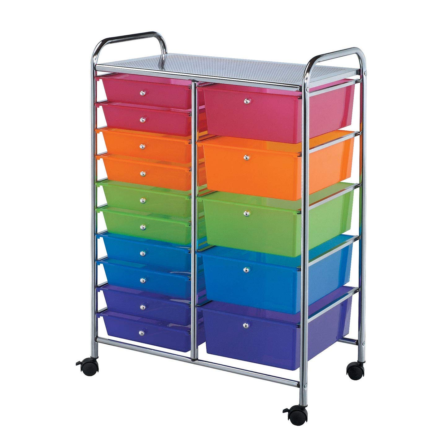 Bulk Buy: Darice DIY Crafts Double Tier, 15 Bin Rolling Storage Silver and Multicolor 37.8 inches (3-Pack 2026-105