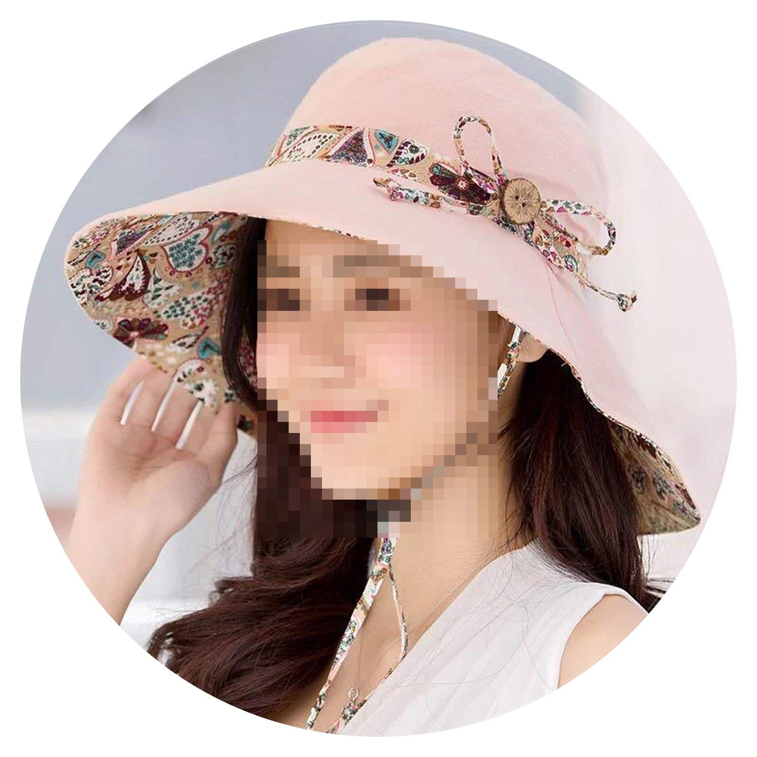 Beach Hat Foldable Wide Brim Cap Lovely-Shop Womens Sun Hat Hindawi Summer Reversible UPF 50
