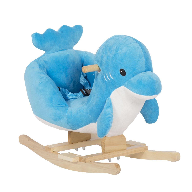 Kinbor Children Rocking Horse Plush Toy Ride-on Little Dolphin Theme Riding Rocker Sound Seat Belts