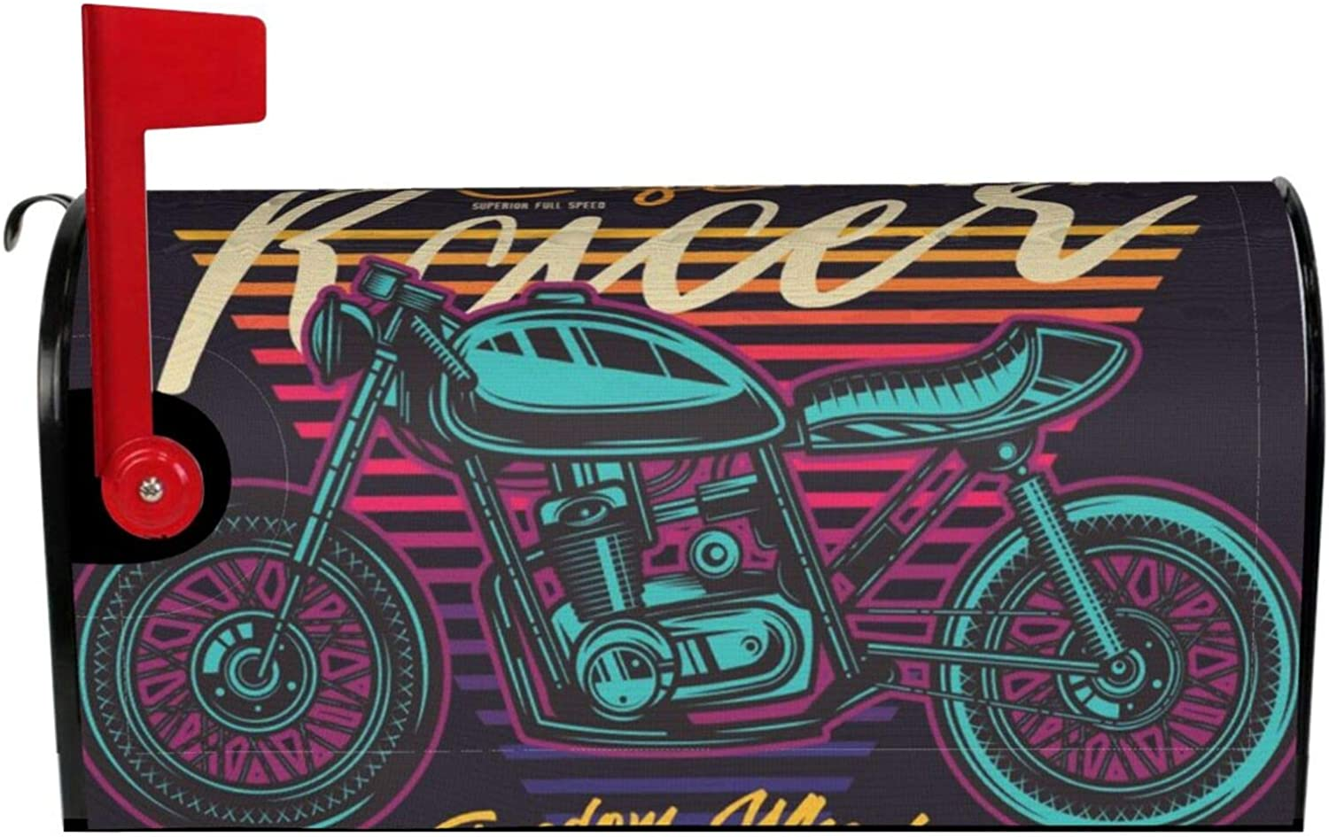 biye Vintage Cafe Racer Motorcycle Poster.Mailbox Cover Magnetic Standard size25.5x21 inPost Box Cover Post Box Parcel Post Office Box Cover Home Garden Decoration