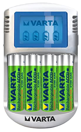 Varta Power .- Enchufe cargador de pilas con LCD + 4 AA