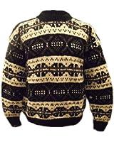 Tricoté main Bien Au Chaud noir et blanc Nordique Style Tricot Épais Pull- Commerce Équitable - 100% Laine