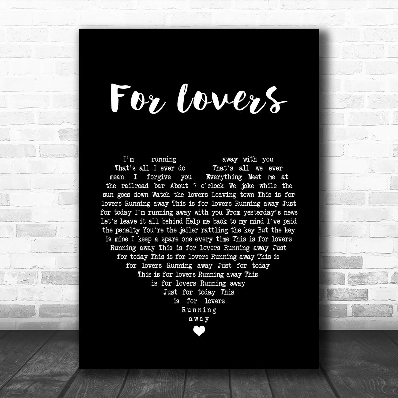 for Lovers Black Heart Song Lyric Art Music Quote Gift Poster Print