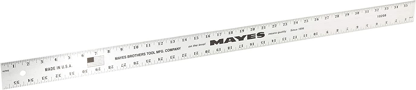 MAYES 10208 Straight Edge Aluminum Ruler, 36-Inch