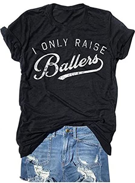 a35d0a29bdc Amazon.com  YUYUEYUE Busy Raising Ballers I Only Raise Ballers Letter Print  T-Shirt Tops  Clothing