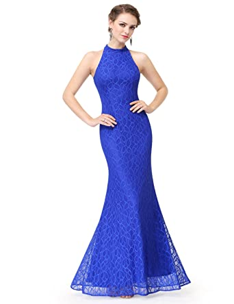 Ever Pretty Womens Floor Length Fitted Mermaid Style Halter Lace