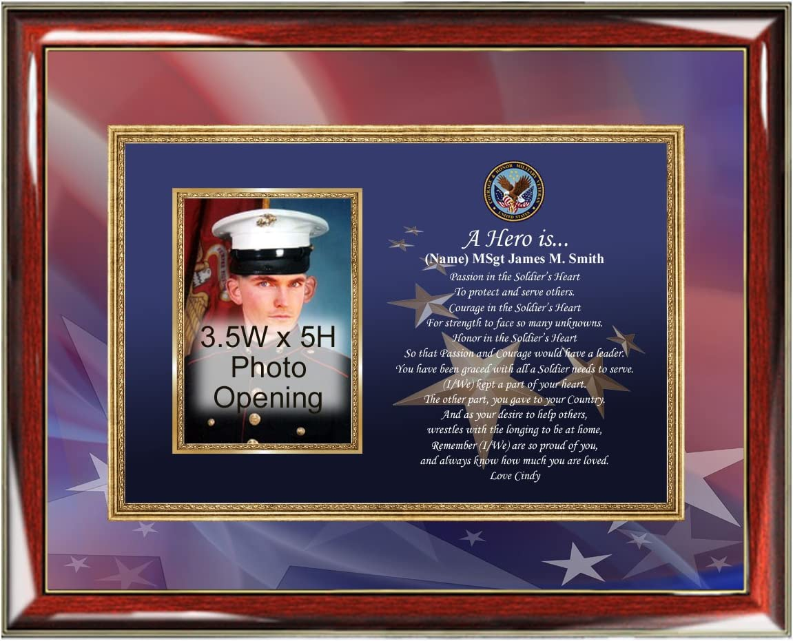 Marco de fotos de militar veterano placa de fotos de poesía personalizada promoción premio jubilación soldado Sailor aviador militar Regalos ejército infantería de marina de Azul Marino fuerza aérea va USMC USAF
