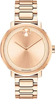 Movado Womens Bold Sugar Dial Rose Gold Watch with Flat Dot, Gold/Pink (