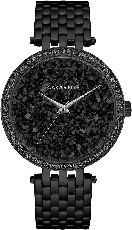 Caravelle 45l171mujeres de cristal de roca cristal negro Dial Negro IP Acero Reloj de pulsera