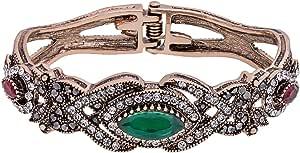 Loco Foco Women's Brass Color Stone Bangle Bracelet
