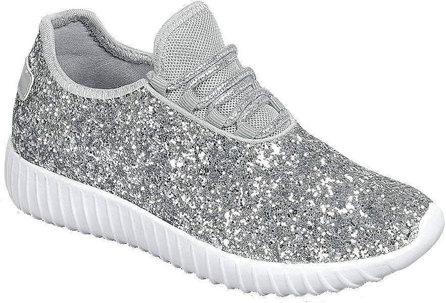 best website 0f70f 42d52 Link Remy18k Silver Lace up Rock Glitter Fashion Sneaker For Children Girl  Kids -